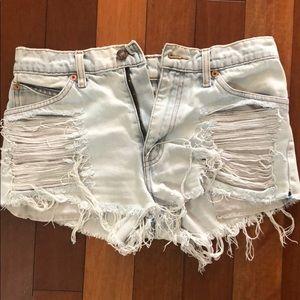 Distressed Denim cutoff shorts